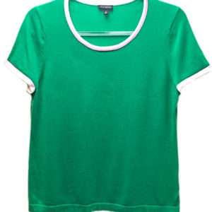 Talbots Kelly Green Knitted Pullover Top Size M
